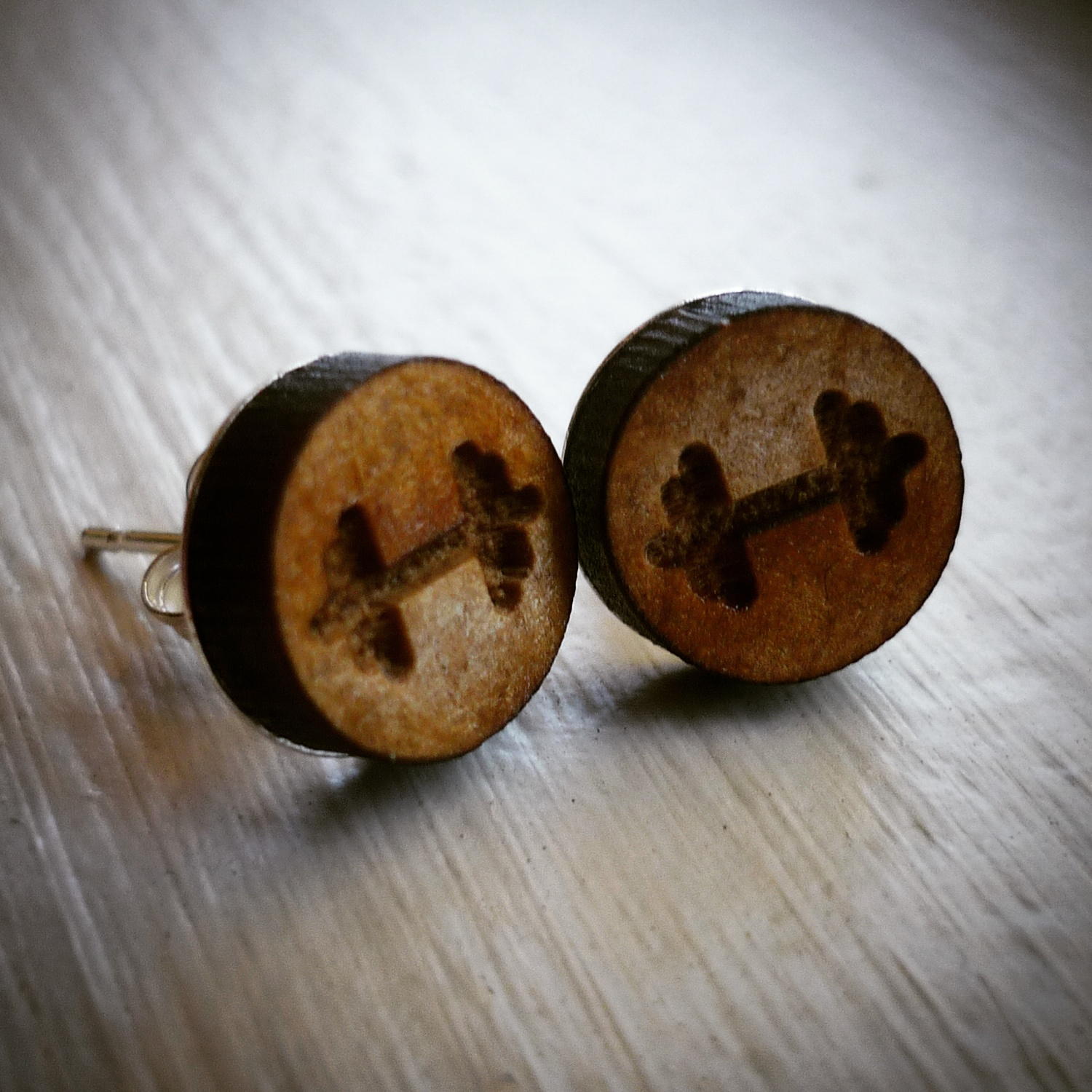 dumbbell earrings inspired with charm